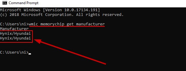 Check The Ram Manufacturer On Windows 10 From Command Prompt