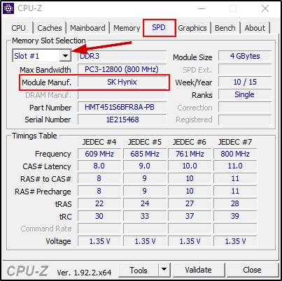 Check The Ram Manufacturer On Windows 10 Using Cpu Z