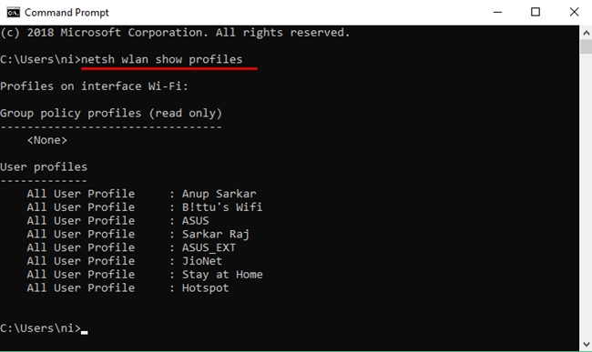 Check Wireless Network Profiles On Command Prompt