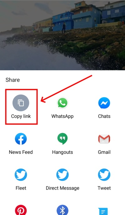 Copy video link on YouTube application