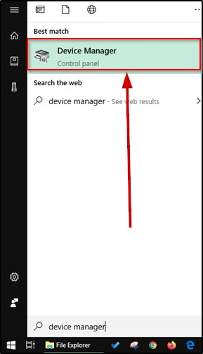 Device Manager on search on Windows 10