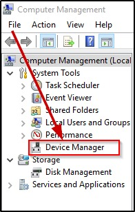 Device Manager option on Computer Management