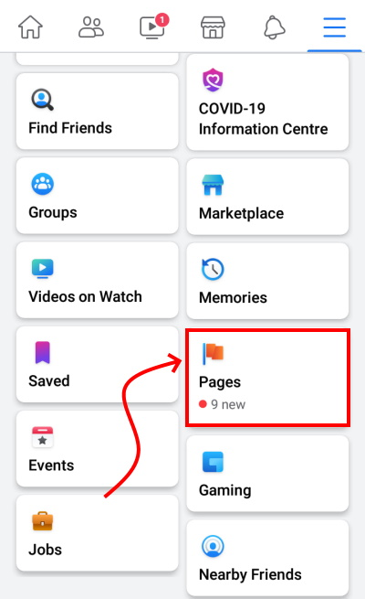 Facebook Pages Option On Phone