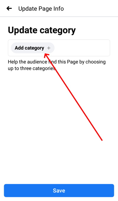 Facebook page category add on phone