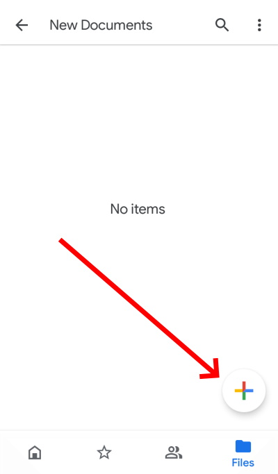 File upload button on Google drive app on mobile