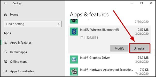 Uninstall a program on Windows 10