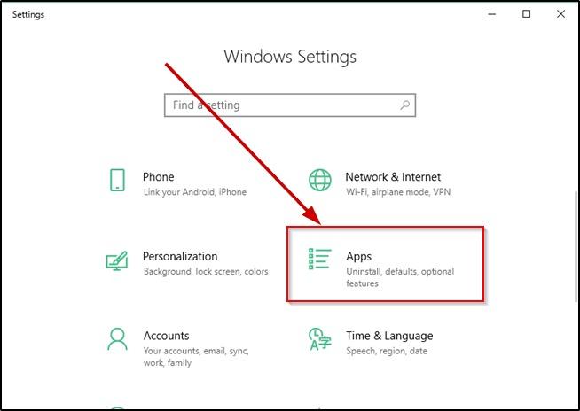 Windows 10 Apps menu on Settings