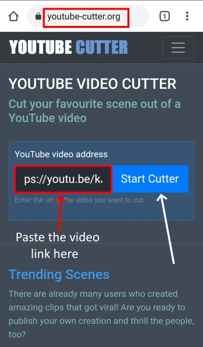 YouTube-cutter ringtone Start cutting