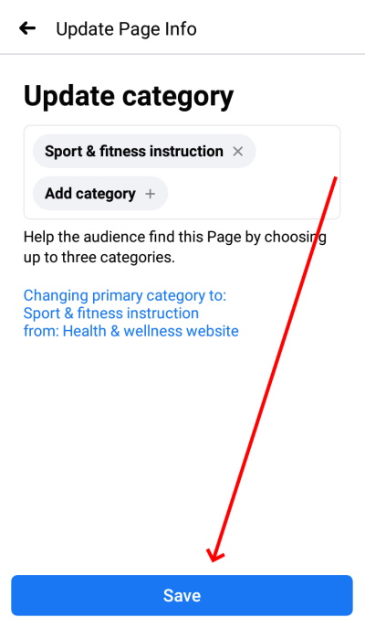 Facebook page category change on phone