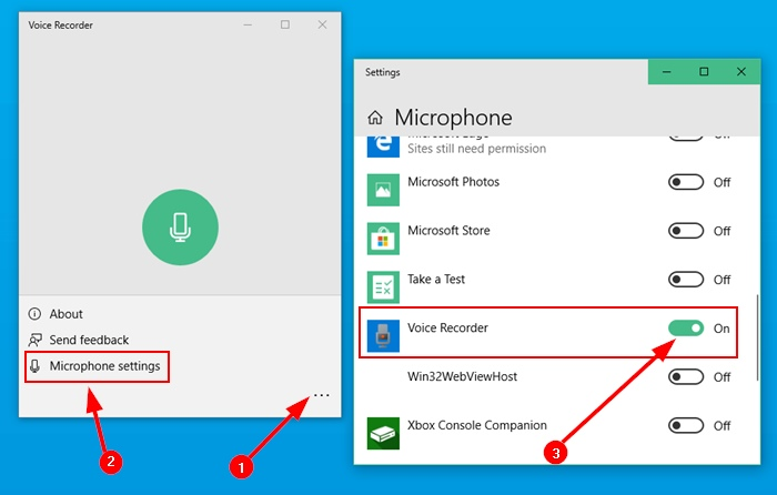 Microphone Access To The Voice Recorder Application