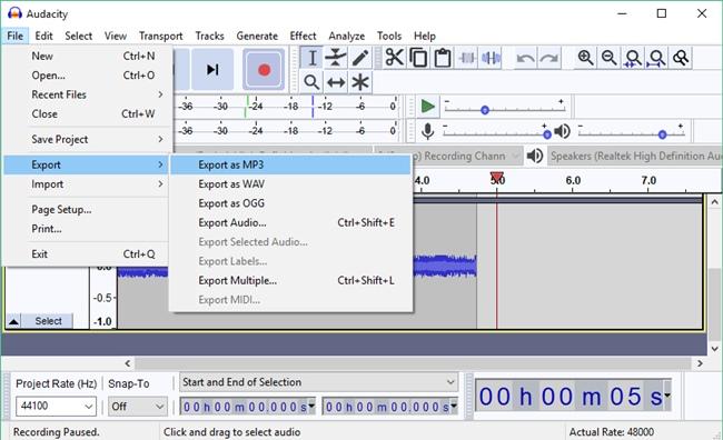 Save Internal Recorded Audio On Audacity