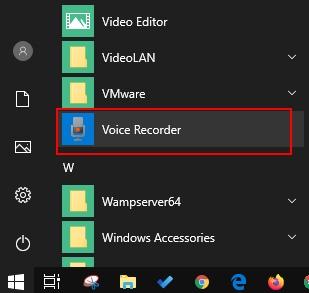 Voice Recorder App On Windows Programs List
