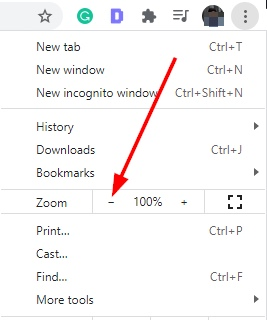 Zoom Out Button On Google Chrome