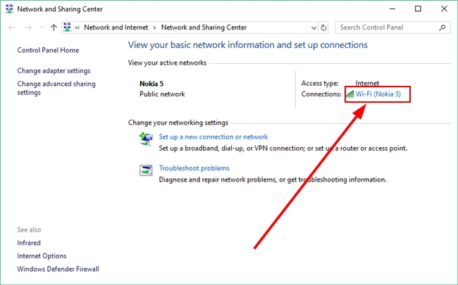 Active Wi-Fi Network Connection On Network &Amp; Sharing Center