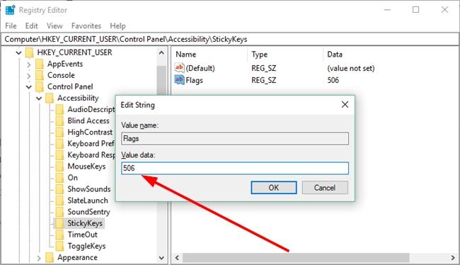 Change Sticky Keys flags in Windows 10 Registry