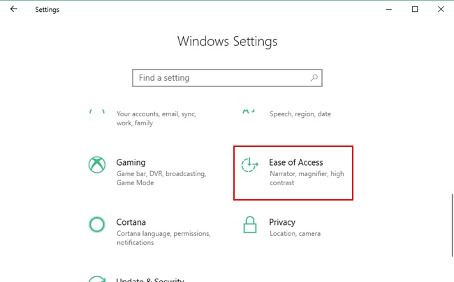 Ease of Access option under Windows 10 Settings