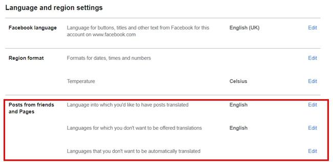 Facebook Translation Settings