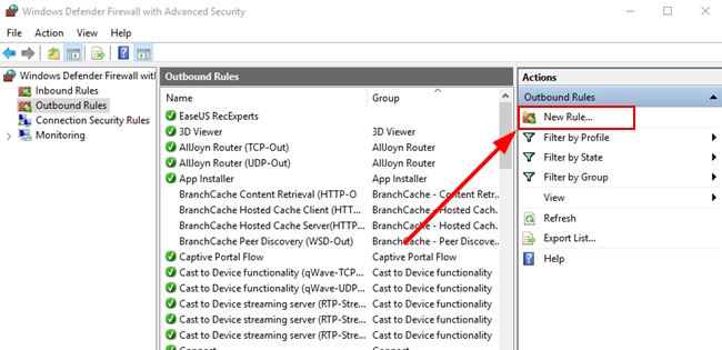 New Outbound Rule creation process on Windows Firewall