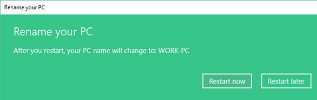Restart Pc To Affect The New Name
