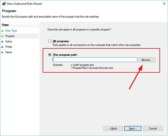 Select Program For Outbound Rule Creation