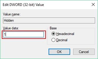 Show Hidden Files in Windows 10 from Registry Editor