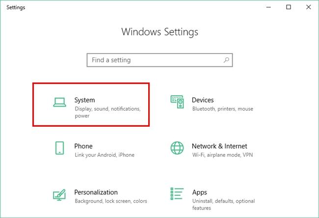 System Settings Option Under Windows 10 Settings