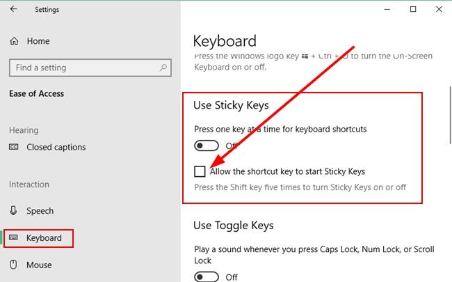 Turn off Sticky Keys shortcut