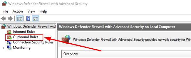 Windows Firewall Outbound Rules Option