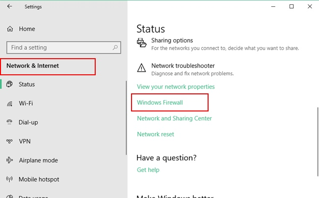 Windows Firewall option under Network & Internet settings