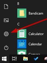 Windows Settings Button from Start menu