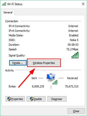 Wireless Properties option on Windows 10