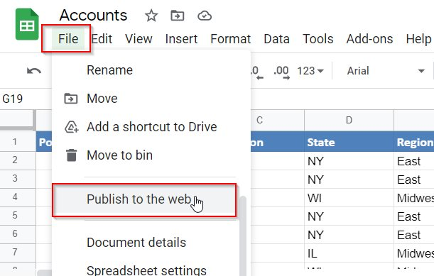 Google Sheets Publish To The Web Function