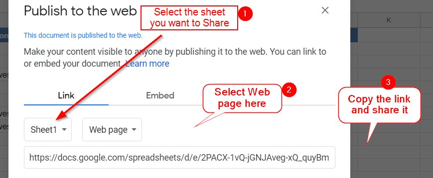 Share Publish To Web Link On Google Sheets