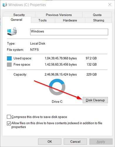 Disk Cleanup Option On Drive Properties