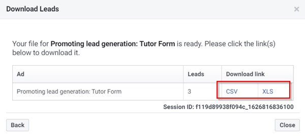 Download Leads From Facebook Ads Manager In Csv Or Xls Format